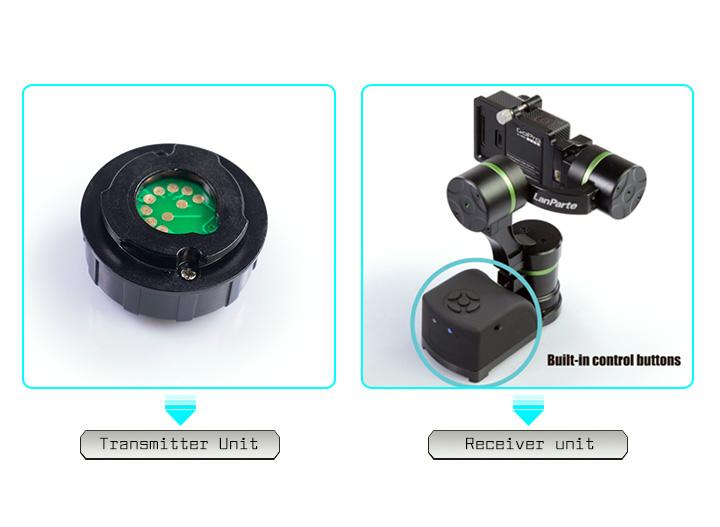 LanParte GWCK-01 - odbiornik adaptera zdalnego sterowania posiada przyciski funkcji gimbala