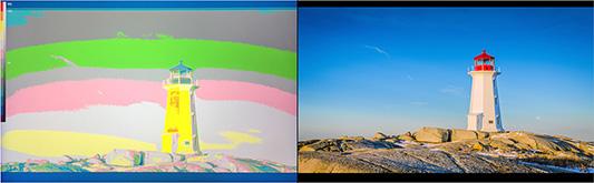 Lilliput A7 - funkcja false color wspmagająca ocenę ekspozycji