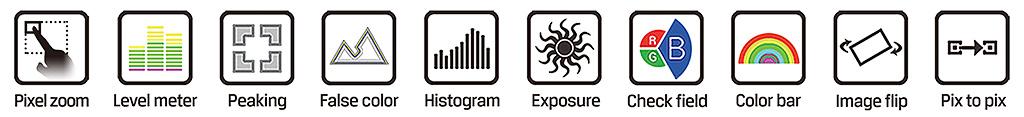 Lilliput A7 - funkcje wspomagające pracę, peaking, zebra, pixel zoom, audio meter, false color itd.