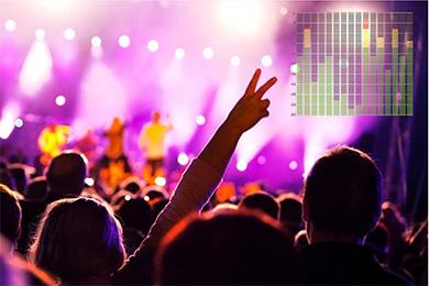Lilliput A7 - wskaźniki audio przedstawiają poziom sygnału dźwiękowego