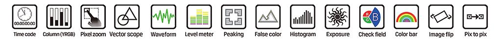 Lilliput Q7 funkcje monitorowania obrazu i wizji - peaking, zebra, waveform itd.