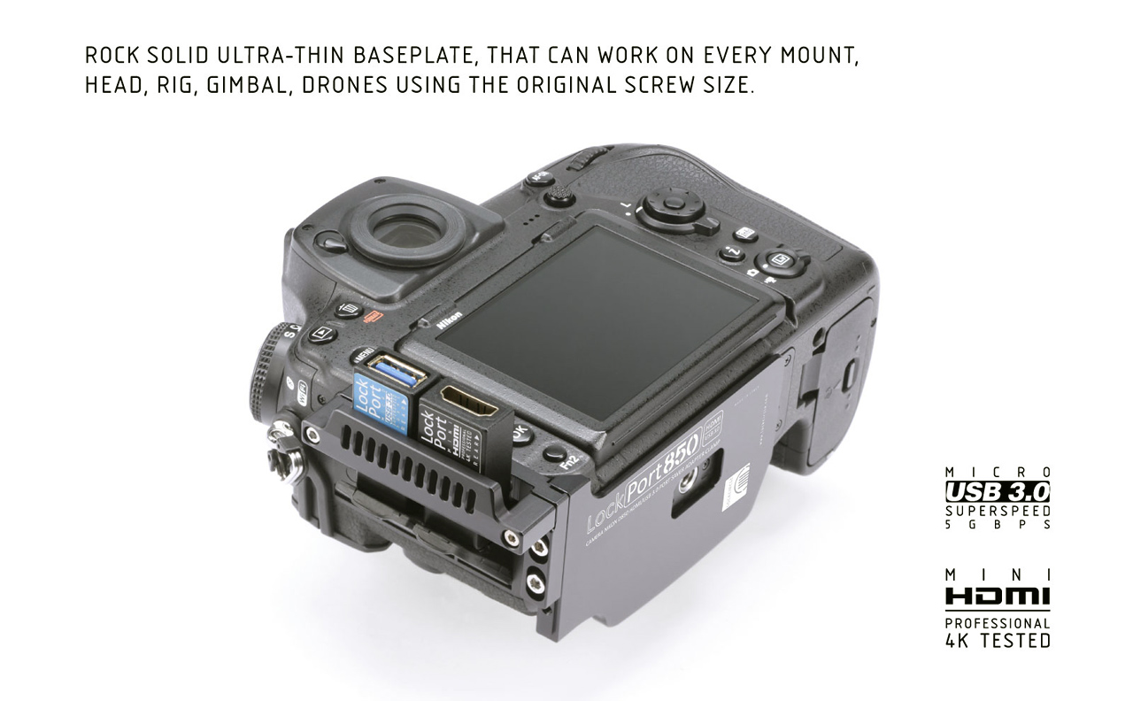 LockCircle Lockport D850 Dual Kit - adapter chroniący gniazda HDMI i USB 3.0 w aparacie Nikon D850