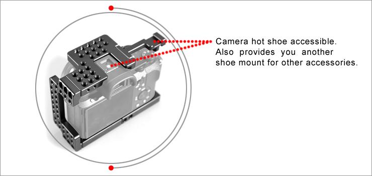 """SmallRig 1660 Sony A7II/A7RII/A7SII Cage - wiele punktów montażowych 1/4""""  oraz zimna stopka aparatu, łatwy dostęp do gorącej stopki aparatu"""