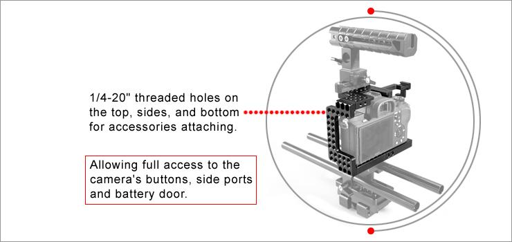 """SmallRig 1660 A7II/A7RII/A7SII Cage - wiele punktów montażowych 1/4"""" dla akcesoriów na całej powierzchni klatki"""