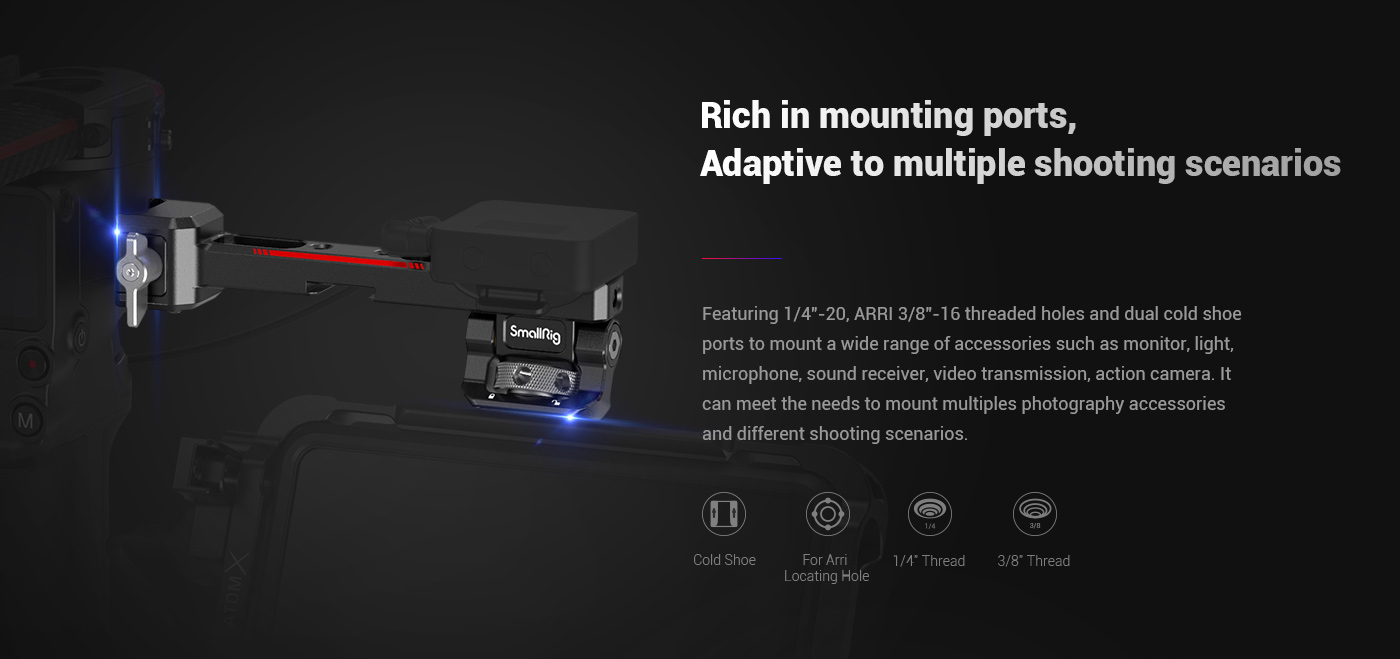 SmallRig 3026 Monitor Mount with NATO Clamp for DJI RS 2/RSC 2 - mocowanie monitora